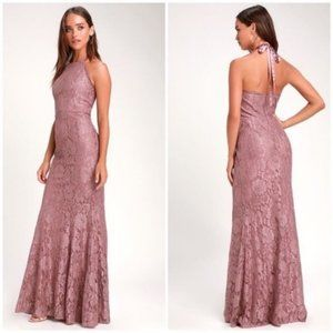 NWT Lulu's Mauve Lace Evening Gown